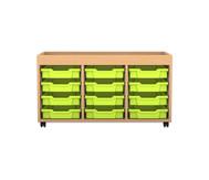 Flexeo Regal PRO mit 3 Reihen, 12 kleinen Boxen und Aufkantung