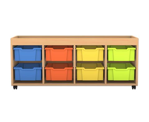 flexeo regal pro 4 reihen 8 grosse boxen mit aufkantung hxbxt 60 7 x 143 9 x 48 cm. Black Bedroom Furniture Sets. Home Design Ideas
