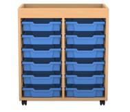 Flexeo Regal PRO mit 2 Reihen, 12 kleinen Boxen und Aufkantung
