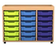 Flexeo Regal PRO, 3 Reihen, 18 kleine Boxen, mit Aufkantung, HxBxT: 82,9 x 108,5 x 48 cm