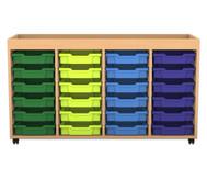 Flexeo Regal PRO mit 4 Reihen, 24 kleinen Boxen und Aufkantung