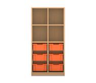 Flexeo Regal PRO, 2 Reihen, 6 grosse Boxen, oben 2 Fachböden, HxBxT: 143,9 x 73,1 x 48 cm