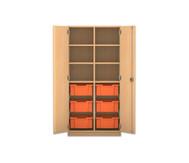 Flexeo Regalschrank PRO, 2 Reihen, 6 grosse Boxen, oben 4 Fachböden