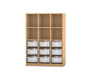 Flexeo Regal PRO, 3 Reihen, 9 grosse Boxen, oben 3 Fachböden, HxBxT: 143,9 x 108,5 x 48 cm