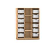 Flexeo Regal PRO, 3 Reihen, 12 grosse Boxen, mittig 3 Fachböden, HxBxT: 143,9 x 108,5 x 48 cm