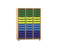 Flexeo Regal PRO mit 3 Reihen und 36 kleinen Boxen