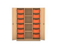 Flexeo Regalschrank PRO, 3 Reihen, 12 grosse Boxen, mittig 3 Fachböden