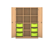 Flexeo Regalschrank PRO, 3 Reihen, 6 grosse Boxen, 7 Fachböden, HxBxT: 143,9 x 108,5 x 50 cm