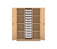 Flexeo Regalschrank PRO, 3 Reihen, 12 kleine Boxen, aussen je 3 Fachböden, HxBxT: 143,9 x 108,5 x 48 cm