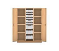 Flexeo Schrank PRO, 3 Reihen, 3 grosse Boxen, 6 kleine Boxen, aussen je 3 Fachböden