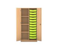 Flexeo Regalschrank PRO mit 2 Reihen, 4 Fächern und 12 kleinen Boxen
