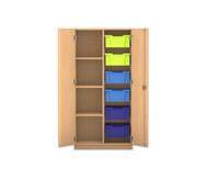Flexeo Regalschrank PRO, 2 Reihen 6 grosse Boxen rechts, links 3 Fachböden, HxBxT: 143,9 x 73,1 x 48 cm