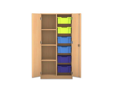 Flexeo Regalschrank PRO mit 2 Reihen 4 Faechern und 6 grossen Boxen