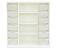 Flexeo Regal PRO, 3 Reihen, 12 große Boxen mittig 3 Fachböden, HxBxT: 143,9 x 134 x 48 cm