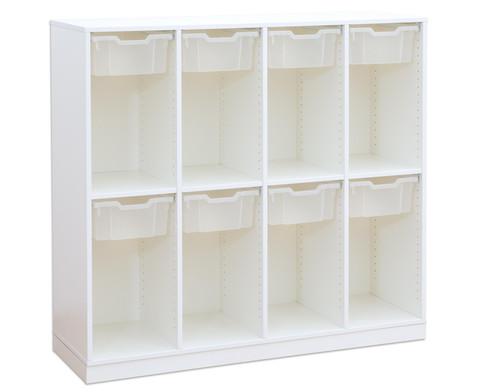 Flexeo Schulranzenregal PRO 4 Reihen 8 grosse Boxen