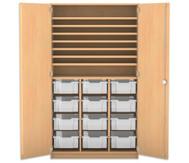Flexeo Bastelschrank, 12 grosse Boxen, 7 Fachböden
