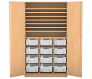 Flexeo Bastelschrank, 12 grosse Boxen, 7 Fachböden, HxBxT: 190 x 108,1 x 60 cm