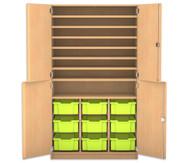 Flexeo Bastelschrank, 4 Halbtüren, 9 grosse Boxen, 7 Fachböden, HxBxT: 190 x 108,1 x 60 cm