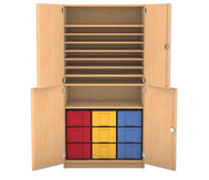 Flexeo Bastelschrank Julia, 7 Fachböden 9 grosse Boxen, HxBxT: 190 x 94,4 x 60 cm