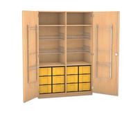 Flexeo Schubladen-Sportschrank, 4 Gitterkörbe, Türen mit Gerätehaken, 12 grossen Schubladen