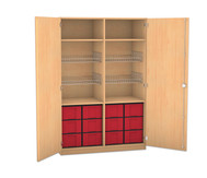 Flexeo Schubladen-Sportschrank, 4 Gitterkörbe, Türen ohne Gerätehaken