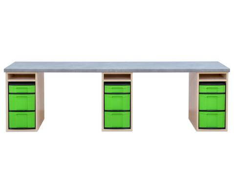 Flexeo Materialtisch mit 3 Regalen B x T 250 x 64 cm