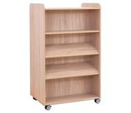 Flexeo Bücherwagen, oben 1 Ablagefach beidseitig  je 1 Fachboden und 2 Schrägablagen