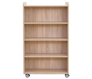 Flexeo Bücherwagen, oben 1 Ablagefach beidiseitig  je 3 Fachböden