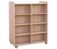 Flexeo Bücherwagen, oben 1 Ablagefach, Mittelwand beidseitig  je 6 Fachböden