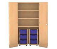 Flexeo Garagenschrank, 2 Rollcontainer mit je 3 grossen Boxen, 3 Fachböden