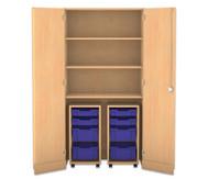 Flexeo Garagenschrank, 2 Rollcontainer mit je 2 kleinen und 2 grossen Boxen, 3 Fachböden