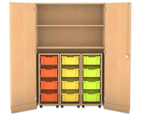 Flexeo Garagenschrank 3 Rollcontainer mit je 4 grossen Boxen 2 Fachboeden-1