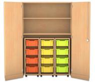 Flexeo Garagenschrank, 3 Rollcontainer mit je 4 grossen Boxen, 2 Fachböden