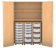 Flexeo Garagenschrank, 3 Rollcontainer mit grossen und kleinen Boxen, 2 Fachböden