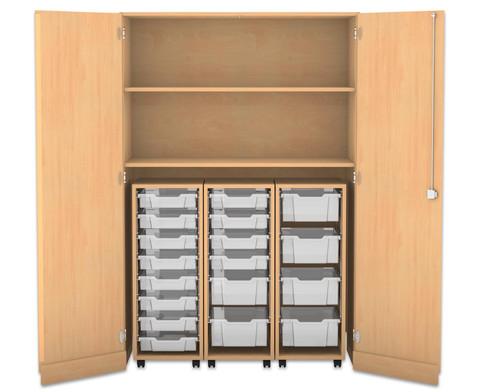Flexeo Garagenschrank 3 Rollcontainer mit grossen und kleinen Boxen