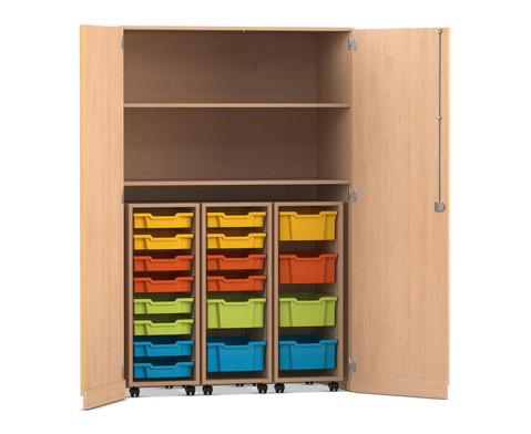 Flexeo Garagenschrank mit 2 Faechern 3 Rollcontainern und 18 Boxen