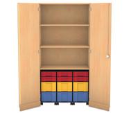 Flexeo Garagenschrank mit 3 Rollcontainern 6 kleine und 6 grosse Boxen, 2 Fachböden,
