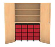 Flexeo Garagenschrank, 3 Fachböden 4 Rollcontainer mit 16 grossen Boxen