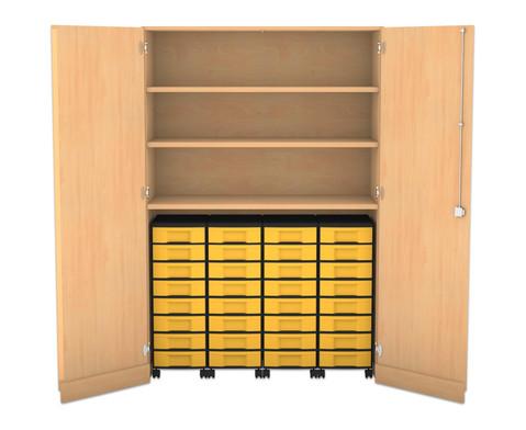Flexeo Garagenschrank mit 3 Faechern 4 Rollcontainern und 32 Boxen