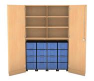 Flexeo Garagenschrank, 6 Fachböden, mit Mittelwand 4 Rollcontainer mit 16 grossen Boxen