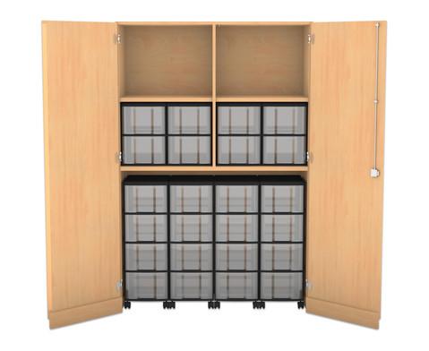 Flexeo Garagenschrank 4 Fachboeden mit Mittelwand 4 Rollcontainer mit 16 grossen Boxen