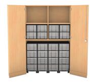 Flexeo Garagenschrank, 4 Fachböden, mit Mittelwand 4 Rollcontainer mit 16 grossen Boxen, oben 8 grosse