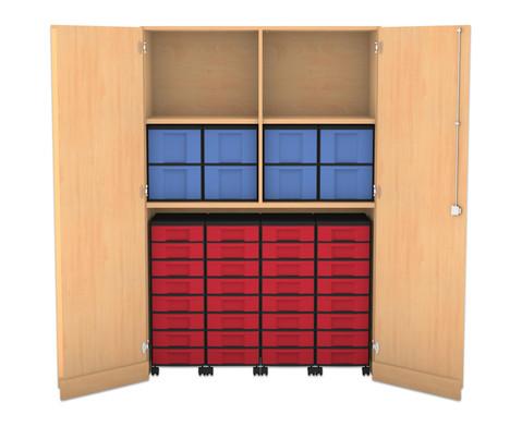 Flexeo Garagenschrank 4 Fachboeden mit Mittelwand 4 Rollcontainer mit 32 kleinen Boxen