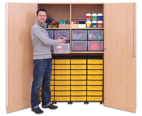 Flexeo Garagenschrank 4 Fachboeden mit Mittelwand 4 Rollcontainer mit 32 kleinen Boxen-2