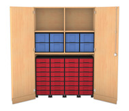 Flexeo Garagenschrank, 4 Fachböden, mit Mittelwand 4 Rollcontainer mit 32 kleinen Boxen, oben 8 grosse