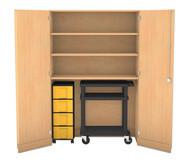 Flexeo Garagenschrank, 3 Fachböden, 1 Rollcontainer mit 4 grossen Boxen, 1 Vorbereitungswagen schwarz