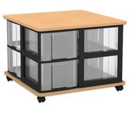 Flexeo Containersystem mit Ablage, 8 grosse Boxen, fahrbar, HxBxT: 52,8 x 71 x 71 cm