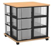 Flexeo Containersystem mit Ablage, 12 grosse  Boxen, fahrbar, HxBxT: 72,8 x 71 x 71 cm