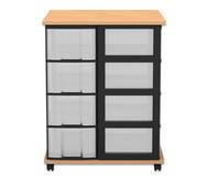 Flexeo Containersystem mit Ablage, 16 grosse Boxen, fahrbar, HxBxT: 92,3 x 71 x 71 cm