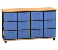Flexeo Containersystem mit Ablage, 12 grosse  Boxen 4 Reihen, fahrbar, HxBxT: 72,8 x 120,5 x 38,5 cm